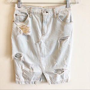 Rag & Bone Shredded Norte Distressed Denim Skirt